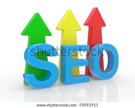 SEO - Search Engine symbol on a white background - stock photo