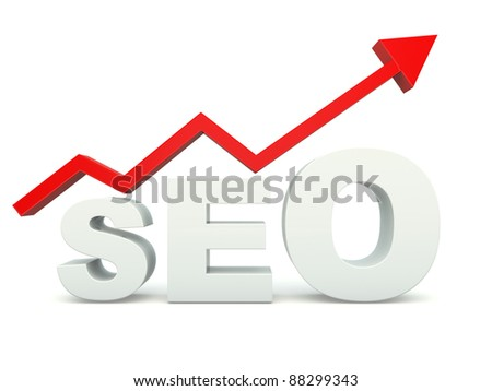 SEO sign with graph isolated on white - stock photo