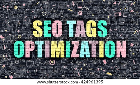 SEO Tags Optimization Concept. Modern Illustration. Multicolor SEO Tags Optimization Drawn on Dark Brick Wall. Doodle Icons. Doodle Style of SEO Tags Optimization Concept. - stock photo