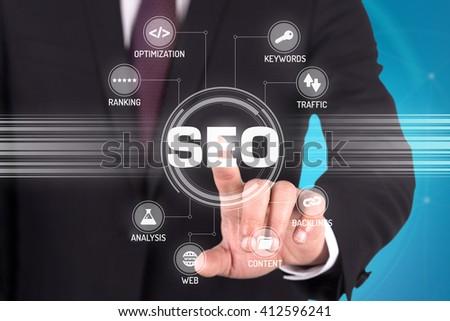 SEO TECHNOLOGY COMMUNICATION TOUCHSCREEN FUTURISTIC CONCEPT - stock photo