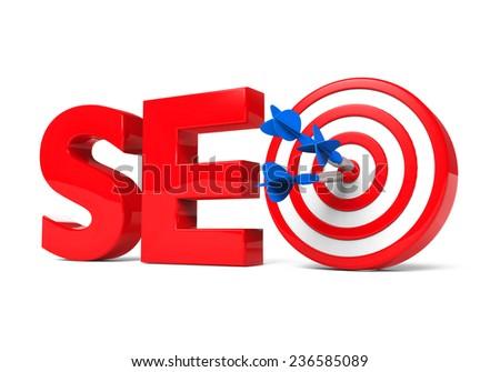 SEO Text and Darts - stock photo