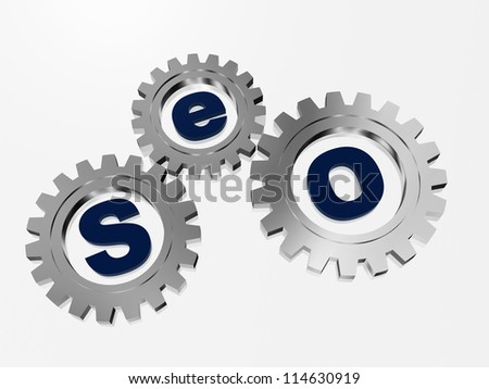 SEO text in 3d silver metal gearwheels with letters - stock photo
