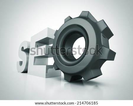 SEO text letters with cogwheel gear. 3d render illustration - stock photo