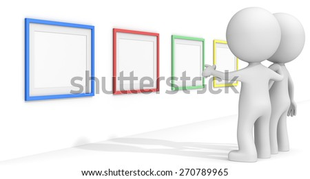 SEO. The dude 3D characters pointing at Colorful Frames. - stock photo
