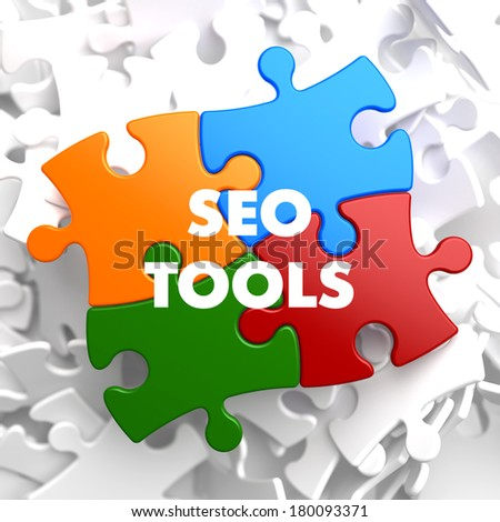 SEO Tools on Multicolor Puzzle. - stock photo
