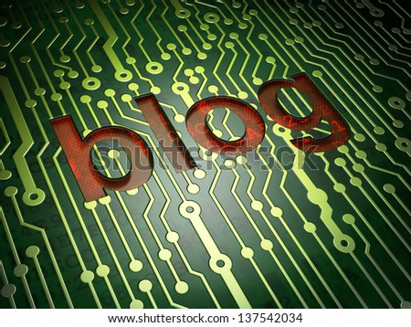 SEO web design concept: circuit board with word Blog, 3d render