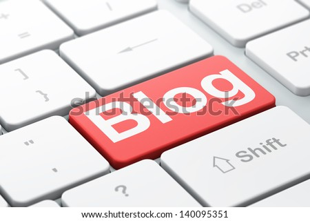 SEO web design concept: computer keyboard with word Blog, selected focus on enter button background, 3d render