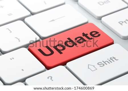 SEO web design concept: computer keyboard with word Update, selected focus on enter button background, 3d render - stock photo