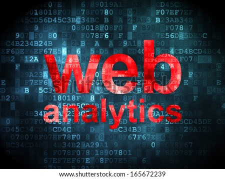 SEO web design concept: pixelated words Web Analytics on digital background, 3d render - stock photo