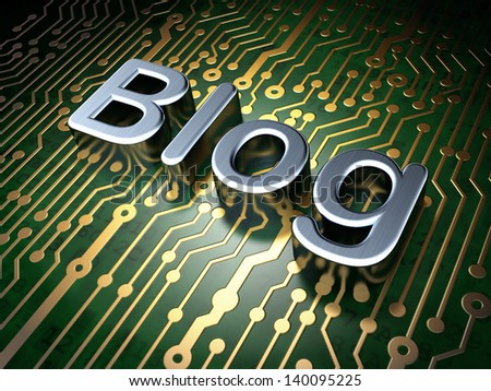 SEO web development concept: circuit board with word Blog, 3d render - stock photo