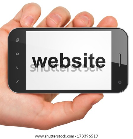 SEO web development concept: hand holding smartphone with word Website on display. Mobile smart phone on White background, 3d render - stock photo