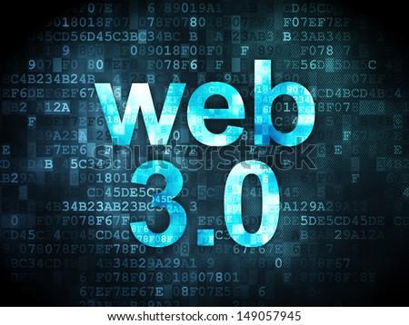 SEO web development concept: pixelated words Web 3.0 on digital background, 3d render - stock photo
