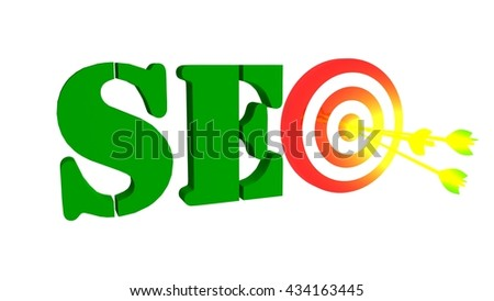 SEO with target and three arrows, 3D illustration - stock photo