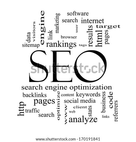 SEO Word Cloud Concept in black and white with great terms such as search, engine, optimization and more. - stock photo
