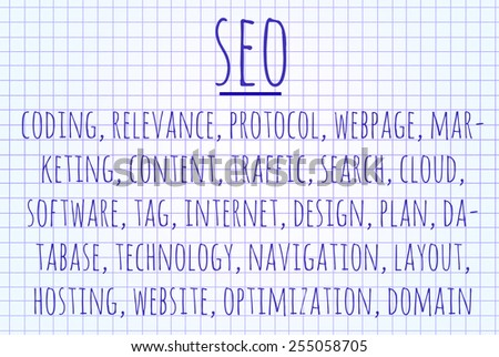 SEO word cloud written on a piece of paper - stock photo