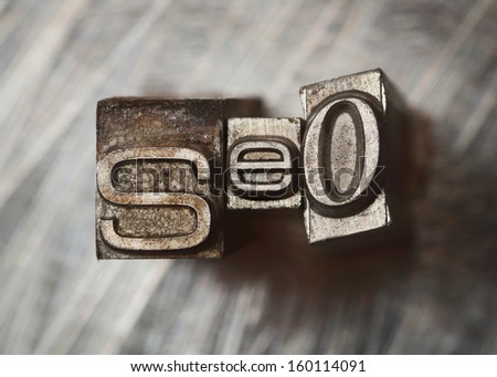SEO word letters with vintage grunge type - stock photo