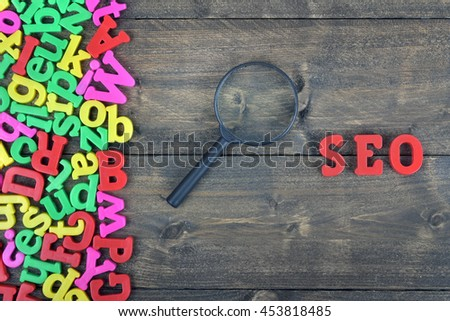 SEO word on wooden table
