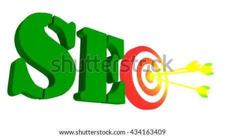 SEO word with target and arrow, 3D illustration - stock photo