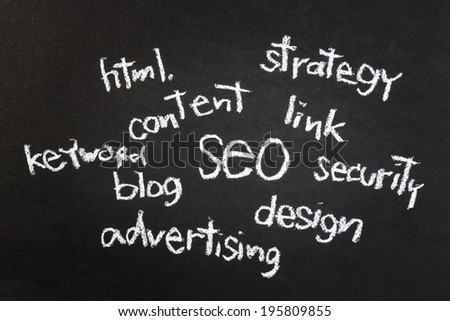 Seo words concept, handwritten with chalk - stock photo