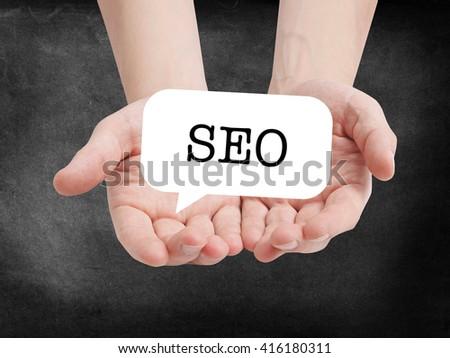 SEO written on a speechbubble - stock photo