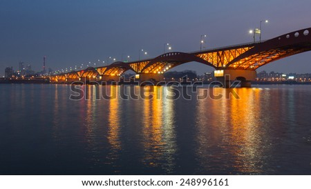 Seongsan Bridge at Night in South Korea