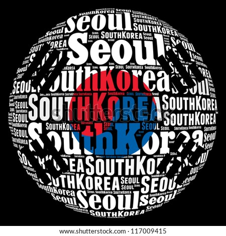 Seoul capital city of South Korea info-text graphics and arrangement concept on black background (word cloud)