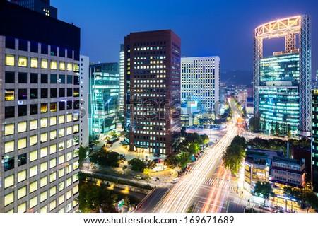 Seoul city at night - stock photo