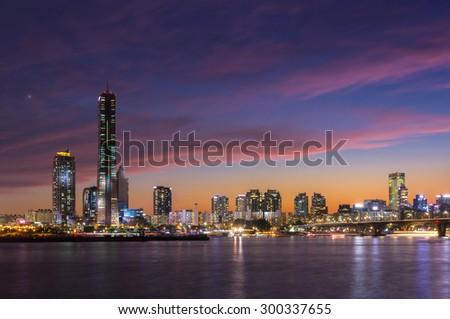 Seoul City at Night and Han River, Yeouido, South Korea. - stock photo