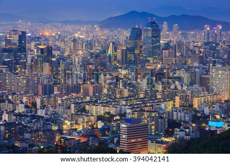Seoul City at Night, South Korea.