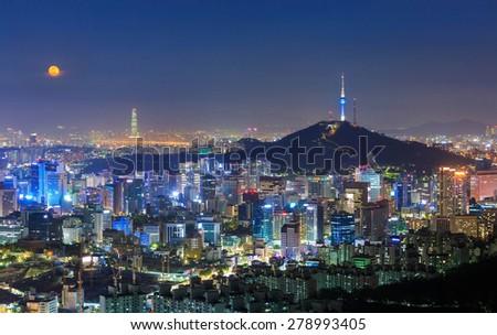 Seoul City Skyline and N Seoul Tower in Seoul, South Korea - stock photo