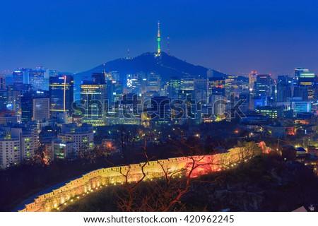 Seoul City Skyline and N Seoul Tower in Seoul, South Korea. - stock photo