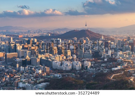 Seoul City Skyline, The best view of South Korea - stock photo