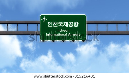 Seoul Incheon South Korea Airport Highway Road Sign 3D Illustration