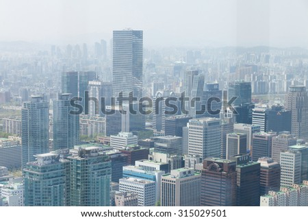 SEOUL, KOREA - APRIL 24, 2015: Aerial view of Seoul from 63 Building