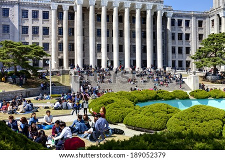 SEOUL, KOREA-APRIL 18: Students are having lunch at the campus in Kyung Hee University on April 18, 2013 in Seoul, Korea.  - stock photo