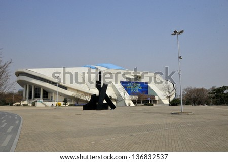 SEOUL KOREA APRIL 9: The Seoul Olympic Swimming Pool Stadium Is Located In  Seoul,