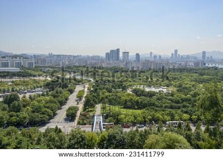 SEOUL, KOREA - AUGUST 30, 2014: World Cup Park and View of Mapo-gu in Seoul, Korea - stock photo