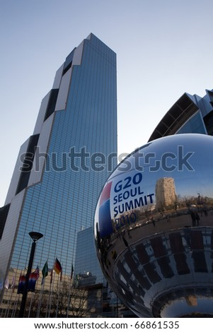 SEOUL, KOREA - NOVEMBER 27: The G-20 Seoul Summit sphere sits within the plaza in front of the Summit conference building on Nov 27, 2010, Seoul, where government heads met to discuss the global economy. - stock photo