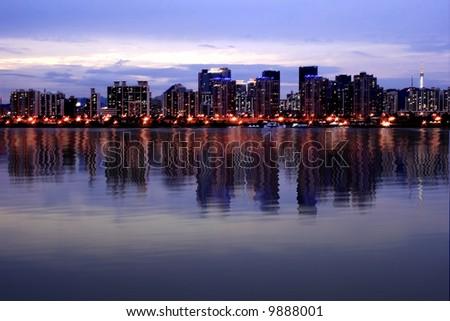 Seoul Korea Skyline at han River in Digital Reflections High resolution - stock photo