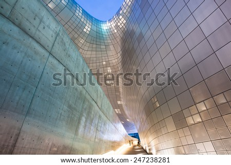 Seoul, Republic of Korea - 15 August 2014: Modern architecture of Dongdaemun Plaza at night on August 15, 2014, Seoul, Korea. - stock photo