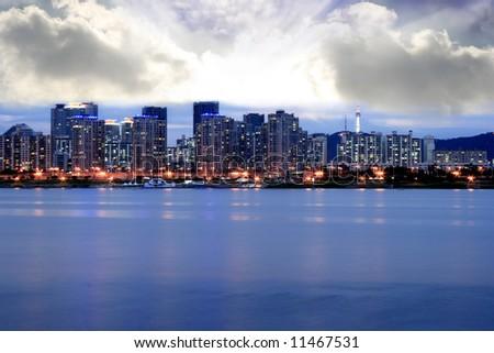 Seoul Skyline at Dusk - stock photo