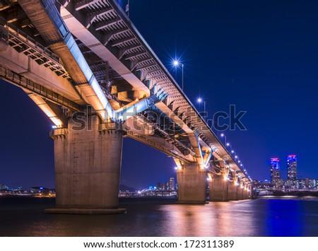 Seoul, South Korea and bridge over the Han River. - stock photo
