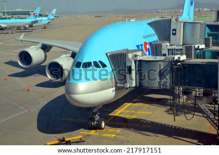 SEOUL SOUTH KOREA APRIL 9: Airbus A380 before departure on april 9 2013 in Seoul South Korea. A380 is the world's largest passenger airliner  - stock photo