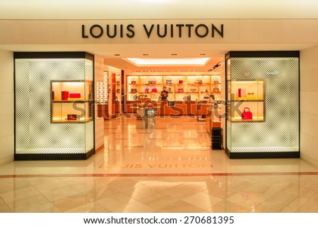 SEOUL,SOUTH KOREA - APRIL 14, 2015 : The LOUIS VUITTON shop inside  Dongwha duty free Department store in Seoul. There are lots of fashion shops i.e. cloths, cosmetic, watch etc.  - stock photo