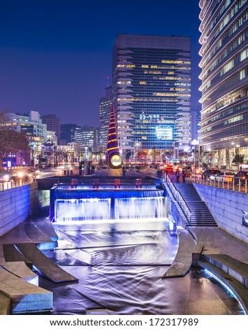 Seoul, South Korea at Cheonggye Stream. - stock photo