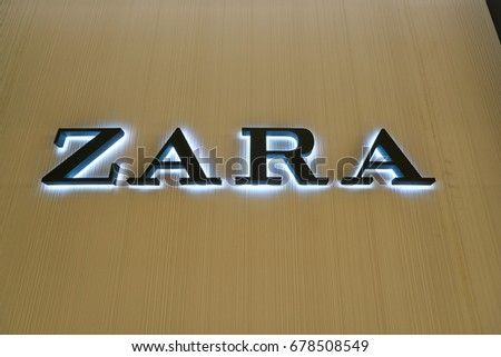 SEOUL, SOUTH KOREA - CIRCA MAY, 2017: close up shot of Zara sign. Zara is a Spanish clothing and accessories retailer