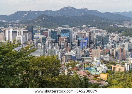 Seoul, South Korea - circa September 2015: Panorama of Seoul, South Korea, skyline from Namsan Mountain