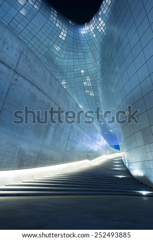 SEOUL, SOUTH KOREA - FEBRUARY 3: Dongdaemun Design Plaza is a modern architecture in Seoul designed by Zaha Hadid.Photo taken February 3,2015 in Seoul, South Korea.