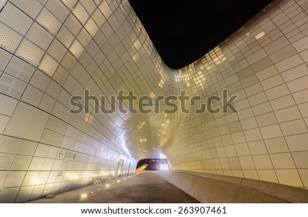 SEOUL, SOUTH KOREA - January 01: Modern architecture at the Dongdaemun Design Plaza at Night on January 01, 2015 in Seoul, South Korea. - stock photo