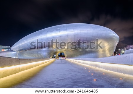 SEOUL, SOUTH KOREA - January 01: Modern architecture at the Dongdaemun Design Plaza, designed by the famous architect Zaha Hadid. Photo taken January 01, 2015 in Seoul, South Korea. - stock photo